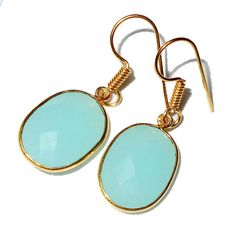 Gold-plated Brass Aqua Onyx Quartz Rough Cut Earrings