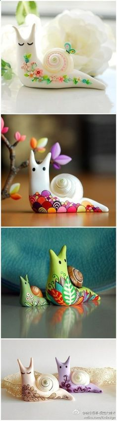 Gorgeous snails using air-dry clay/model magic. These are beautiful. The snails could be made by children of all ages and then the decorations would be age-appropriate.