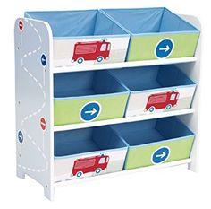 Fahrzeuge - Regal zur Spielzeugaufbewahrung mit sechs Kisten für Kinder: Amazon.de: Küche & Haushalt