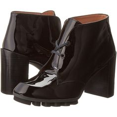 Robert Clergerie Arzi High Heels, Black ($180) ❤ liked on Polyvore featuring shoes, boots, ankle booties, ankle boots, black, lace up boots, black leather booties, short boots и chunky heel booties