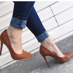 As females, we all have certain weak points. I know a person who can't resist pretty shoes but has nothing right to wear with them. Others love frilly lingerie but never have any money to buy outer clothing. Tan Heels, Lace Up Heels, Pumps Heels, Stiletto Heels, Dress And Heels, Fancy Shoes, Cute Shoes, Me Too Shoes, Pretty Shoes