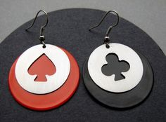 french / poker card earrings  made of stainless steel by Theiae, $20.00  #earrings #jewelry #Etsy