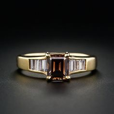 Estate Engagement Ring with Natural Color Fancy Brown Emerald Cut