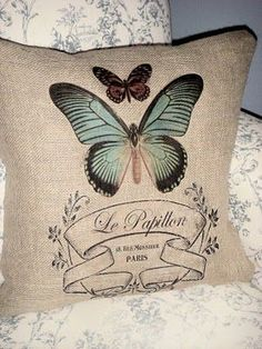 Burlap has always been a favorite material of mine. The course texture of burlap comes from the fact it is made from the skin of the jute p. Burlap Projects, Burlap Crafts, Sewing Projects, Burlap Pillows, Decorative Pillows, Throw Pillows, Butterfly Pillow, Burlap Lace, Linens And Lace