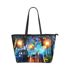 Doctor Who Print Designed Authentic Leather Tote Bag Soft Stylish Shoulder Bag