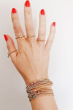 Reach for the stars with gold accessories. Rings and Bracelets. Our favourite!