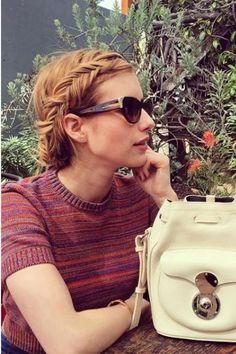 Emma Roberts wearing Ralph Lauren Ricky Drawstring Bucket Bag in White, American Apparel Classic Crop Top and Ralph Lauren Western Cat Eye Sunglasses