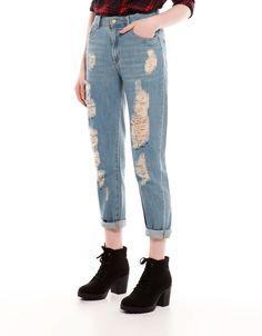 Ahorra $320 en Jeans de tiro alto vintage para Dama, en Bershka.