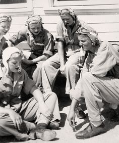 WASP trainees, class 43-5, waiting on the flight line at Avenger Field, 1943