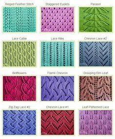 Over 50 Eyelet & Lace Stitches. Whether you are a beginning lace knitter or a pro looking for a new challenge you will be sure to find several knitted lace stitches that you will want to try.