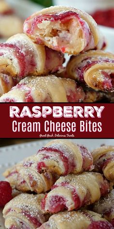 Cream Cheese Bites have a cheesecake filling and a delicious raspberry. -Raspberry Cream Cheese Bites have a cheesecake filling and a delicious raspberry. Cream Cheese Pastry, Cream Cheese Recipes, Cream Cheese Pie Crust Recipe, Cream Cheese Roll Up, Cream Cheese Crescent Rolls, Raspberry Sauce, Raspberry Cream Cake Filling Recipe, Raspberry Pastry Recipes, Easy Raspberry Desserts
