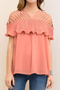 Salmon Off Shoulder Strappy Ruffle Top
