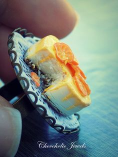 Cheesecake ring , orange cheesecake adjustable ring, food jewelry, wearable food, summer fruit, panna cotta ring, retro ring,miniature food by Chocoholicjewels on Etsy