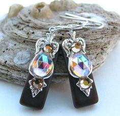 Espresso Stained Glass Earrings on Etsy, $14.00