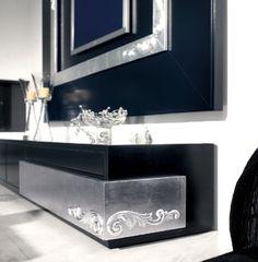 Luxus Carved Black and Silver Leaf TV Base Cabinet