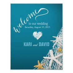 Starfish Netting Beach Wedding Welcome Sign azure