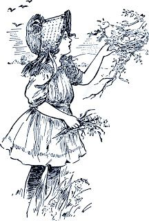 Free Digital Stamp - Girl Looking at a Bird Nest