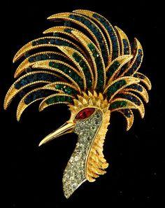 Vtg 1960s Philippe TRIFARI FIREBIRD Bird Peacock Figural Rhinestone Brooch Pin #Trifari