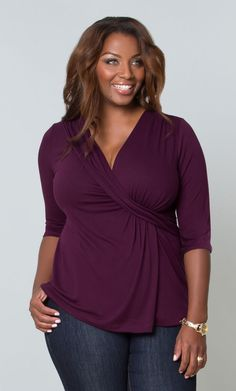 Our plus size tops are on-trend style statements featuring gathered waistlines, ruching, crossover bodices, flowy hems and more! Shop tops at www.kiyonna.com  #Plussize  #tops #MadeintheUSA  #Kiyonna