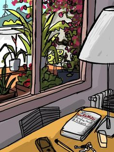 Una ventana de Barcelona, by Mariscal Collages, Pen And Wash, Ipad Art, Through The Window, Digital Illustration, Painting & Drawing, Illustrators, Arts And Crafts, Artsy