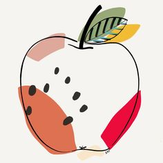 Illustration by Katherine Oquendo Apple Illustration, Illustration Arte, Illustrations, Sketch Note, Art Watercolor, Apple Prints, Art Plastique, Diy Art, Art Inspo