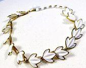 White leaf choker, vintage leaf necklace, gold and white choker, gold and white leaves, vintage white choker, 1950s vintage choker