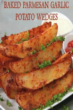 Parmesan and Garlic seasoned potato wedges oven roasted and perfectly soft and fluffy on the inside!