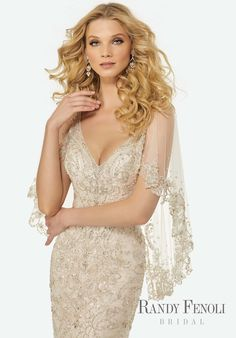 Randy Fenoli Bridal, Madeline Wedding Dress | Style 3420. Intricately Beaded Embroidery on a V-Neck, Slim Tulle Gown with Dramatic, Beaded Tulle Modified Capelet. Vintage Gatsby Inspired.