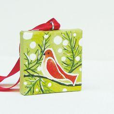 Christmas Tree Red Bird Original Painting Christmas Tree Ornament  by hjmartgallery, via Flickr