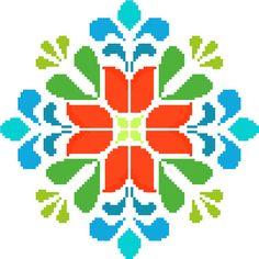 Folk tulip mandala. Retro cross stitch by crossstitchtheline