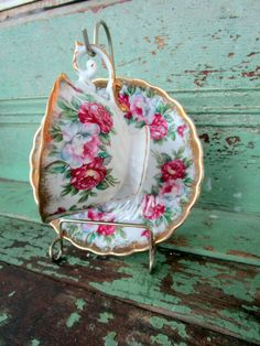 Vintage  Teacup and Saucer Shabby Pink Roses by Holliezhobbiez, $15.75