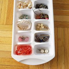 Use ice cube trays to store tiny treasures. | 41 Dollar-Store Hacks Every Parent Should Know About