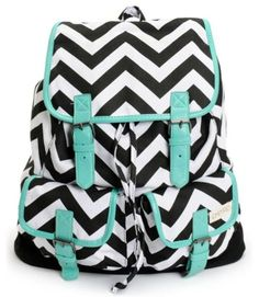 black and white backpack with tirquoize details