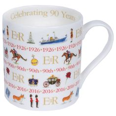 Buy Milly Green Celebrating Britain Queen's 90th Birthday China Mug | John Lewis
