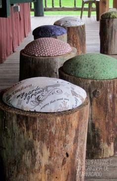 butacas de troncos de árboles