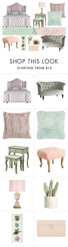"""Green & Blush Home Decor"" by sophasaurus ❤ liked on Polyvore featuring interior, interiors, interior design, home, home decor, interior decorating, Haute House, Pier 1 Imports, Amara and Robert Abbey"