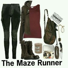 Create the Maze Runner look for your Maze Runner book Halloween costume! Mode Outfits, Casual Outfits, Fashion Outfits, Fashion Boots, Maze Runner, Zombie Apocalypse Outfit, Apocalypse Survival, Runners Outfit, Character Inspired Outfits