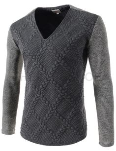 (CZ75-GRAY) Mens Slim Fit V-neck Twist Embossing Patched Long Sleeve Knitted Tshirts