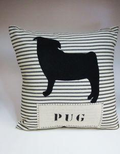 Black Pug Pillow - Felt Pillow - Decorative Pillow Cushion Cover on Etsy, $27.00