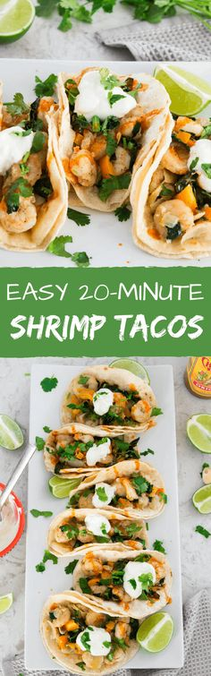 Easy 20-Minute Shrimp Tacos - Fresh shrimp, onions, bell peppers, and kale sautéed in butter, olive oil, garlic, and spices. Finished with a big squeeze of lime, a drizzle of hot sauce, fresh cilantro, and a dollop of sour cream all wrapped up in a warm soft corn tortilla. | passmesometasty.com