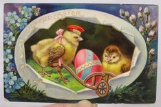 Vtg Easter Postcard Germany Messenger Chick w Egg Cart 1915 Era #Easter