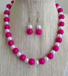 Pink Necklace Pink and White Necklace Pink by CherishedJewelryCo, $24.00