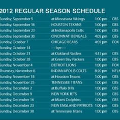 Jaguars 2012 Season Schedule