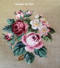 A Classic ( Berlin Woolwork) / Klasik Bir Desen (Berlin İşi) Cross Stitch Charts, Cross Stitch Designs, Cross Stitch Patterns, Ribbon Embroidery, Cross Stitch Embroidery, Brazilian Embroidery, Cross Stitch Flowers, Handmade Art, Needlepoint