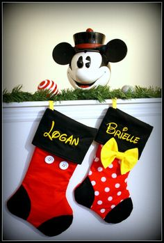 CHRISTMAS STOCKINGS - Set of 2 Disney Inspired Mickey Minnie Mouse Goofy Donald Duck Daisy Pluto Tinkerbell Personalized Embroidered Family