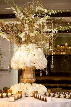 Crystal Wedding Reception | ... Wedding Reception Branches Hydrangea Place Card Table Flowers Crystals