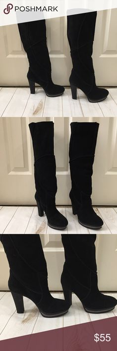 "♠️Nine West slouchy suede stunning winter boots! ♠️Nine West slouchy leather suede stunning winter boots! These are super comfy slouchy black suede boots from Nine West. These are 4.5"" high with great front support for all day wear. 1"" support in front. Front wedge also has grey for added style points. I love these boots!! Preloved in excellent condition. Nine West Shoes Heeled Boots"