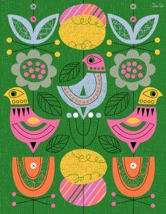 Scandinavian, danish, folk easter spring birds  Print for sale on Etsy https://www.etsy.com/shop/JennSki?section_id=10357099&ref=shopsection_leftnav_5