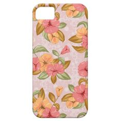 Girly Tropical Pink Orange Yellow Floral iPhone5