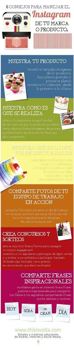 6 consejos para el Instagram de tu Marca (o producto) Iinfografia  en español. #CommunityManager